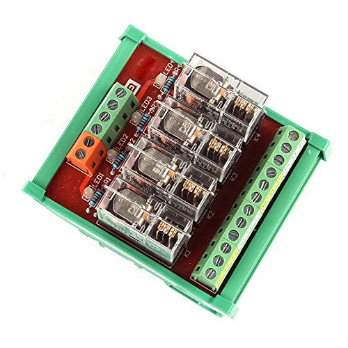 Sainsmart Din Rail Mount 4 Spdt 10A Power Relay Interface Module Dc 24V Omron Gbl-4L1-24V Relay