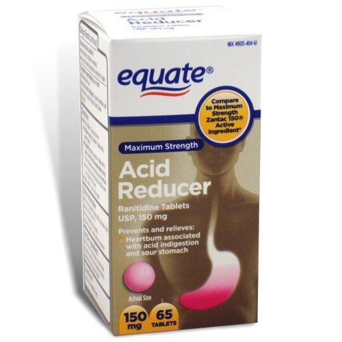 Equate Ranitidine Acid Reducer 150 Mg Tablets, 65-Count Bottle front-927547