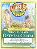 Earths Best Organic Whole Grain Oatmeal Cereal, 8 Ounce Boxes (Pack of 12)