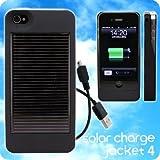 ソーラーハイブリッド充電ケース for iPhone 4◆solar charge jacket 4(ブラック)