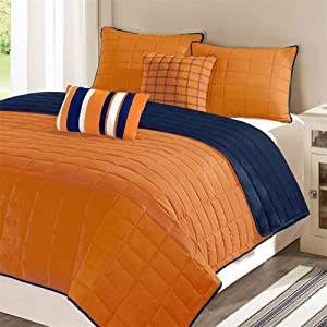 Orange and navy blue bedding submited images - Orange and blue comforter ...