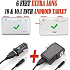 Set of 2 (Car & Wall) 6 Feet Extra Long Ac / Dc Adapter (6ch) with Round Jack Tip 9.7 & 10 & 10.1 inch Tablet Pc Power Supply Charger Fits Alldaymall A10X 10.1 , Amar 10.1 Inch A83T / A31S , Andteck TouchTab 10.1 , Contixo Q102 10.1 OKEARIN Crystal 10 Tablet PC , Coby Kyros MID1042-8 10.1-Inch Quad Core Android 4.4 Kitkat Tablet Pc , DeerBrook XF-10A 10.1 , Dragon Touch A1X / A1 10.1 , Digital Reins DR10-X4B 10.1 , Epassion E1 10.1 , Epassion E1 10.1 & 10inch , EHometown 10.1 inch A33 ProntoTec Nepro 10S 10 Inch , Flytouch FastTouch 10 Inch , G-Tab Spectro Dual Core Android Tablet 10.1'', Hott 10.1 inches model number 60726 E , iRulu eXpro X1s 10.1'' & iRulu AX105 & 2014 NEW iRulu 10 A31S , JACKLY 2015 model number 010 , JYJ 10 Inch , 10 Kocaso MID M1063W & M1050 10-Inch , LevecTec 10.1 A33 , Matricom G-Tab Quantum 10.1inch , Matic EGS102BLRB 10-Inch , NeoByte 10.1 Inch Osgar 10.1 inch , NeuTab N10 10.1 FastTouch(TM) Fast Touch 10 , OKEARIN Crystal 10 Tablet PC , OctaTab Octa OctaTab16B Allwinner A83T 10.1  , Pola tab Polatab Elite Q10.1 Shamo's New 10.1 , Pumpkin X 10.1 , Pyle Astro PTBL10C Android 10-Inch , Poofek A31S 10.1 Inch ValuePad VP112-10 10.1 , Polaroid Q10BK Q10BT PMID1000B 10.1 Hd Android Touch Screen Capacitive Tablet Pc, Proscan Plt1077g , ProntoTec Nepro 10S 10 Inch , ProntoTec 2014 A31S X1 / X1S , SKYTEX SKYPAD SP1020 10.1 , Shamo's New 10.1 , Tagital T10 10.1 , Trio Stealth G2 10.1 , Visual Land Prestige Elite & Pro 10.1 Radium X 10.1 Vuru Expanse 10 , vital Air108 10.1 , ZEKI 10 | TBQC1063B I TBDC1093B I TBDG1073B