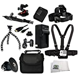 All In One Outdoor Kit for GoPro Hero3 and Hero3+ (White, Silver & Black). Includes Arm Mount + Flat Surface Mount + Chest Strap + Head Strap + Extended Life Replacement Battery (AHDBT-301)+ Rapid Travel Charger + Micro HDMI + Gripster + Adapter Mount + C
