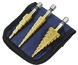 ステップドリル チタンコーティング 六角軸 3本セット (4-20 4-12 3-12) タケノコドリル ミリ(mm)