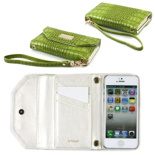 Special Sale JAVOedge Croc Clutch Wallet Case with Wristlet for the Apple iPhone 5s, iPhone 5 (Green)