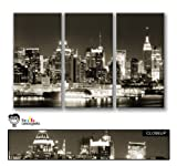 3 Panel Split Set of New York City Canvas Wall Art, overall size 44 inches wide by 28 inches high