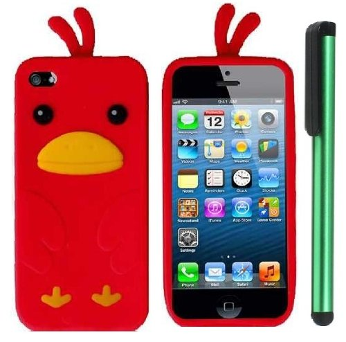 #1  Red Funny Duck Silicone Skin Premium Design Protector Soft Cover Case Compatible for Apple Iphone 5 (AT&T, VERIZON, SPRINT) + Combination 1 of New Metal Stylus Touch Screen Pen (4