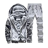 SemiAugust(セミオーガスト)メンズ 秋冬  ファッションジャケット アウトウェアパンツ 厚い迷彩ジャケット 高品質 男性用 カラーはライトグレー サイズは4XL