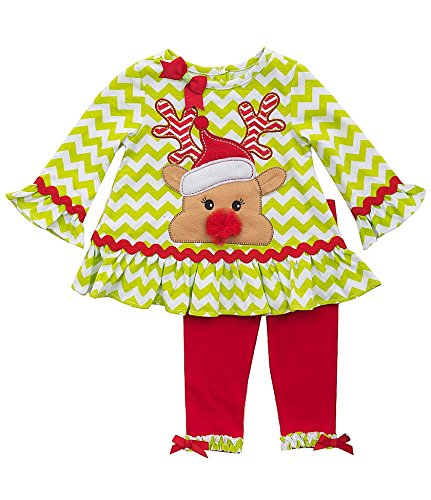Rare Editions Baby Girls' Infant Lime Red Chevron RUDOLPH Leggings 2-pc outfit