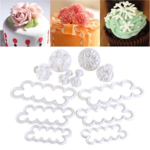 OUNONA 12PCS Stampi Per Pasta Di Zucchero Tagliapasta Rosa Stampi Ad Espulsione Pasta Di Zucchero Decorazioni