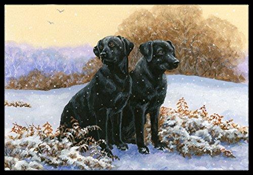 Caroline's Treasures BDBA0450MAT Black Labradors in the Snow Indoor or Outdoor Mat, 18