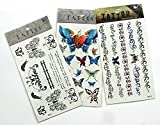 Tt Set A002 3 Sheets Of Butterfly Tattoos, Temporary Tattoos, Fashion Tattoos, Body Tattoos Pictures Diy Temporary Tattoos For Adults, Approx. Size : 6.25