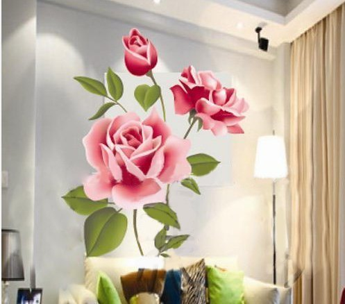 Hotportgift Rose Flower Removable PVC Wall Sticker Home decor Room Decal Large Size