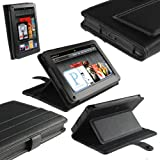 "iGadgitz Black Genuine Leather Case Cover for Amazon Kindle Fire 7"" Display 8GB Wi-fi Android Tablet"