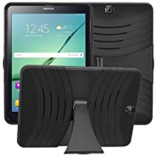 "buy For 2015 Samsung Galaxy Tab S2 9.7"" Inch T817 Tablet Only, Bvgande [Le Mes Series] Full-Body Tough Impact Dual Layer Hybrid Cover Build In Kickstand Protective Case And Impact Resistant Bumper (Black)"