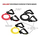 Gallant Resistance Exercise Fitness Bands Tube For Men Women Set Light Medium Heavy in Yellow, Pink and Black Colours Reistance bands with handles