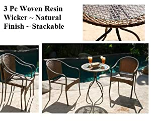 outdoor woven wicker 3 pc bistro set table
