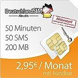 DeutschlandSIM SMART 200 [SIM, Micro-SIM und Nano-SIM] monatlich kündbar (200MB Daten-Flat mit max. 7,2 MBit/s, 50 Frei-Minuten, 50 Frei-SMS, 2,95 Euro/Monat, 15ct Folgeminutenpreis) O2-Netz