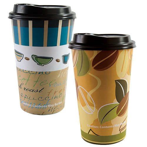 16 Oz. Paper Cup Hot And Cold Cup Coffee Cup With Lid Two Unique Designs (Pack Of 32)