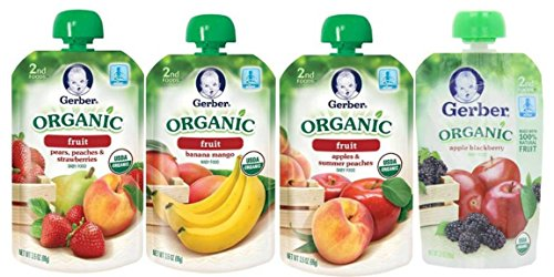 Gerber Organic Fruit Baby Food Pouch Variety Pack: (1) Gerber Organic Pears, Peaches & Strawberries, (1) Gerber Organic Banana Mango, (1) Gerber Organic Apples & Summer Peaches, And (1) Gerber Organic Apple Blackberry, 3.5 Oz. Ea. (4 Pouches Total)