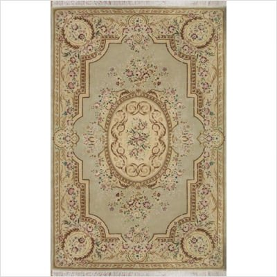 "French Elegance SP016 Venetian Green / Beige Aubusson Rug Size: 5'6"" x 8'6"""