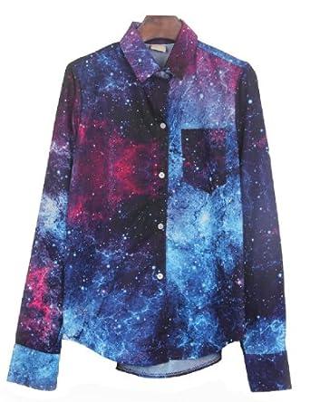 PrettyGuide Women Galaxy Space Print Curved Hem Long Sleeves Top Shirt Blouse