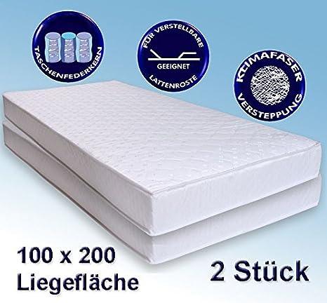 2 Matratzen Avance 100x200cm, Taschenfederkernmatratze, 2er-Set, Härtegrad mittelhart H2 / H3, TFK Matratze
