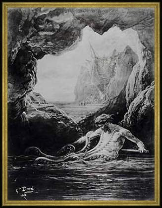 "Bild mit Rahmen: Gustave Dore, ""Gilliatt struggles with the giant octopus, illustration from 'Les Travailleurs de la Mer' by Victor Hugo (1802-85) 1866"", 61 x 80 - Holz Corum S: Gold"