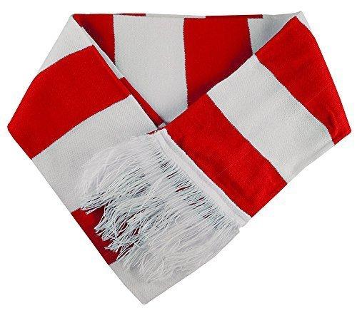 Unisex Rosso e Bianco a strisce cappelli sciarpa polsini Scaldamuscoli Calze al ginocchio 1 x Red&White Scarf Only Taglia unica Bambina