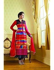 Fabfiza Womens Semi-Stitched Georgette Resham Straight Salwar Suit (Fbpr-2102)