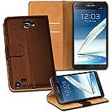 OneFlow PREMIUM - Book-Style Case im Portemonnaie Design mit Stand-Funktion - für Samsung Galaxy Note 2 (N7100 / N7105 LTE) - DUNKELBRAUN