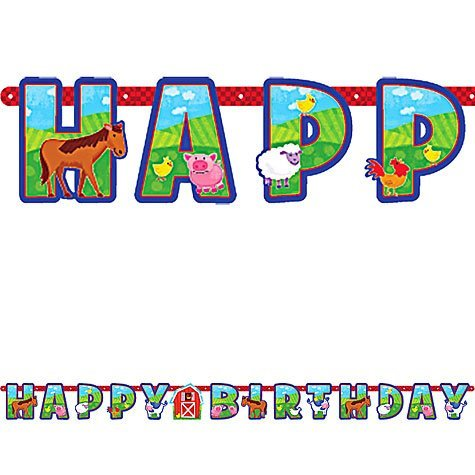 Farm Animal Barnyard Birthday Party Letter Banner