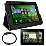 Skque Premium Anti-glare Screen Protector + MICRO HDMI Cable 6 feet + Black leather Case for Blackberry Playbook 7