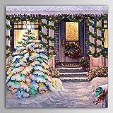 noël peinture hiver silent night neige, vacances, cadeau peinture à l'huile sur toile prête à accrocher...