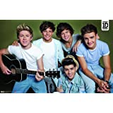 One Direction 2014 Group Guitar Horizontal Poster 34x22