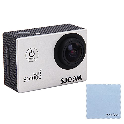 SJCAM Original SJ4000 WiFi Action Camera 12MP 1080P H.264 1.5 Inch 170° Wide Angle Lens Waterproof Diving HD Camcorder Car DVR with Free Makibes Cleaning Cloth (Silver)