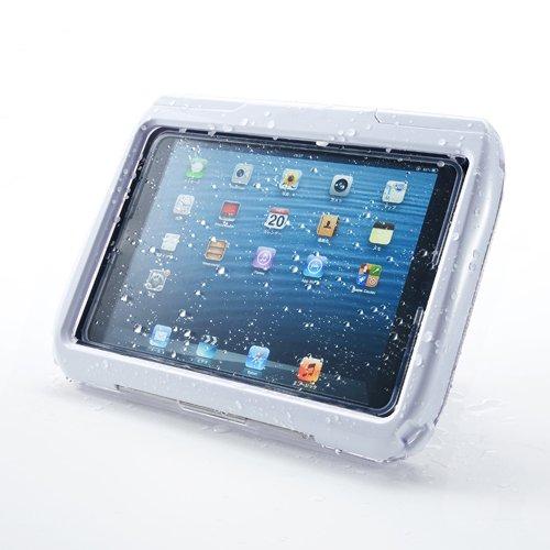 サンワダイレクト iPad mini防水ハードケース iPad mini 3 / mini 2 対応 スタンド機能 ストラップ付 ホワイト 200-PDA109W