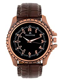 Swisstone Black Dial Brown Leather Strap Analog Watch For Men/Boys- ST-GR010-BLK-BRW