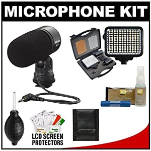 Nikon ME-1 Stereo Microphone for D4s, D610, D800, D7100, D3200, D3300, D5200, D5300, V3 Digital Cameras Supplied with Wind Screen and Soft Case + LED Video Light Kit + Nikon Cleaning Kit