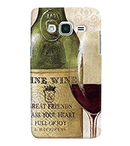 Printvisa Vintage Wine Bottle And Glass Back Case Cover for Samsung Galaxy J2 (2016)
