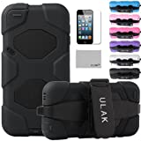 Pandamimi ULAK(TM) Full Protection Extreme Heavy Duty Water-Proof Sport Outdoor Case Cover Belt Clip for Apple iPod Touch 5 5th with Screen Protector (Black)