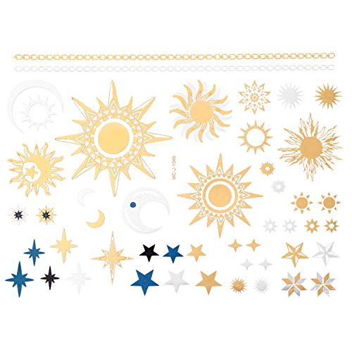 jewelrywe-joyeria-tatuaje-temporal-henna-dorado-sol-y-estrellas-para-ninos-adolescentes-y-adultos-ta
