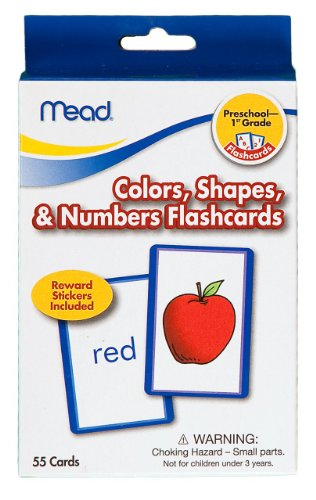 Mead Flashcards, Colors, Shapes, & Numbers, Grades Pk-1, 3.62 X 5.25 Inches, 55 Cards (63126) front-405646