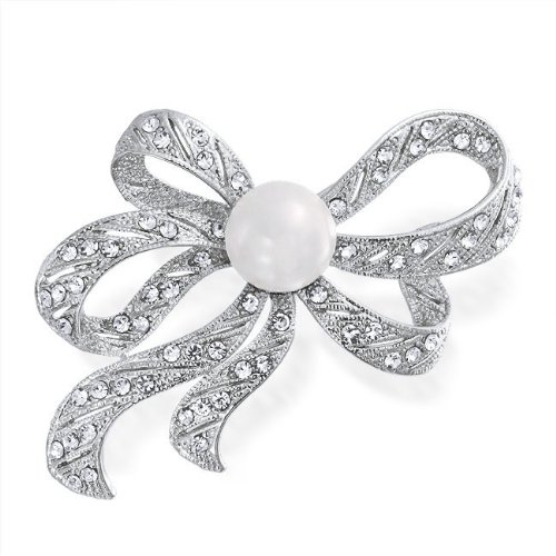 Bling Jewelry 13mm South Sea Shell Pearl Crystal Ribbon Bow Brooch Pin