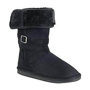 FOREVER GE24 Women's Buckle Strap Folded Collar Flat Winter Snow Boots, Color:BLACK, Size:10