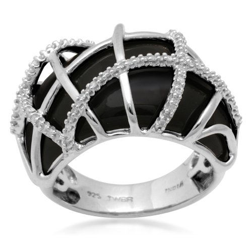 Sterling Silver with Black Enamel Diamond Ring (1/5 cttw, I-J Color, I3 Clarity), Size 8