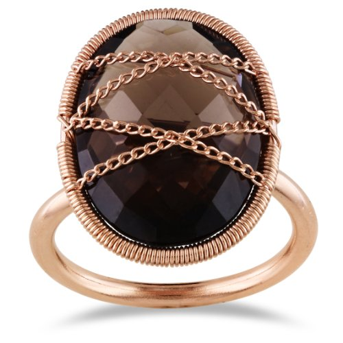 14K Rose Gold Silver 9 CT Oval Smokey Quartz Cocktail Ring, Size 7