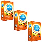 Exure 3 packs of 18 Fruity Flavoured condoms (54) - 100% electronically tested, CE0123 certified