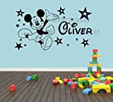 Mickey Mouse and stars boys girls personalised bedroom wall art decal