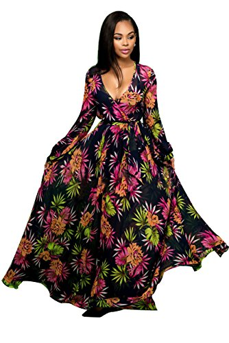 Kearia Womens Elegant Deep V Neck Long Sleeve Chiffon Floral Printing Long Maxi Dress with Belt XLarge